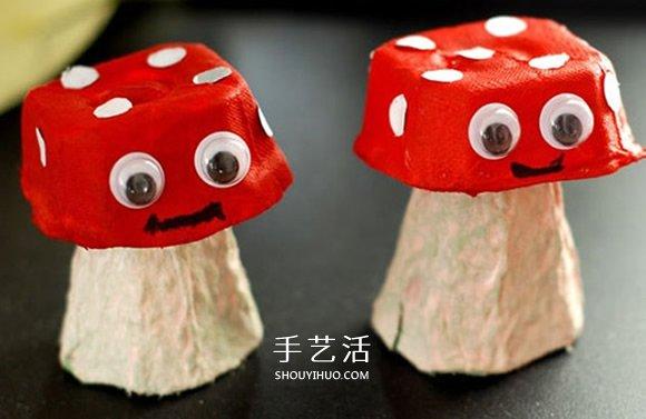 鸡蛋托手工制作蘑菇的方法 -  www.shouyihuo.com