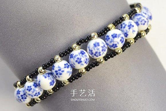 中国风陶瓷珠子手链的制作方法图解 -  www.shouyihuo.com