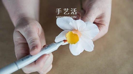 皱纹纸手工制作水仙花 清新脱俗如仙子! -  www.shouyihuo.com