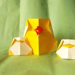 可爱卡通风格小鸟的折纸方法图解