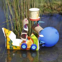 果汁盒手工制作气球海盗船图解