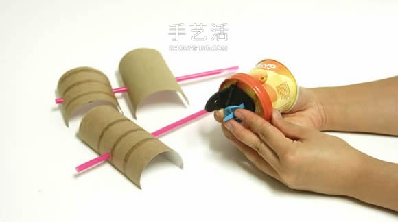 果汁盒手工制作气球海盗船图解 -  www.shouyihuo.com