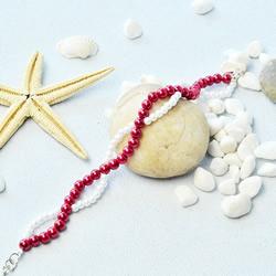 自制红白两色华丽珍珠手链的方法图解