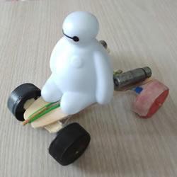废物利用DIY橡皮筋动力回力车的方法