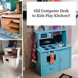 旧电脑桌改造儿童玩具厨房的方法