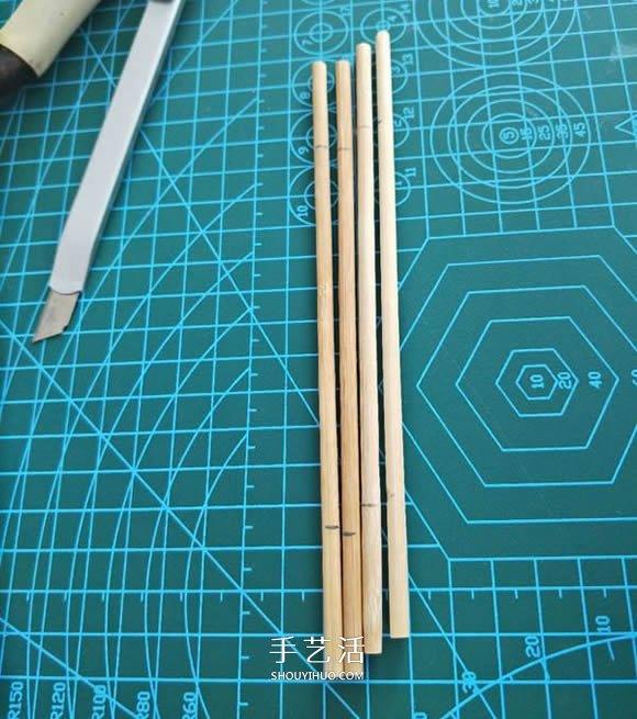 一次性筷子手工製作置物碟圖解教程