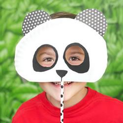 纸盘手工制作可爱大熊猫面具图解教程