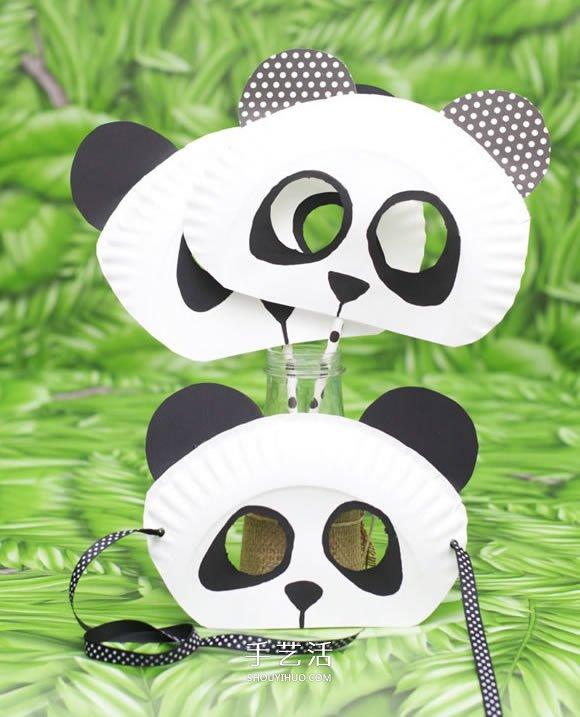 紙盤手工製作可愛大熊貓面具圖解教程