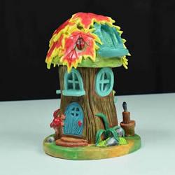 纸粘土和玻璃瓶手工制作童话小屋