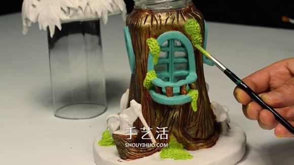 纸粘土和玻璃瓶手工制作童话小屋 -  www.shouyihuo.com