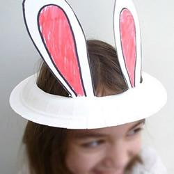 纸盘手工制作可爱兔子帽图解教程