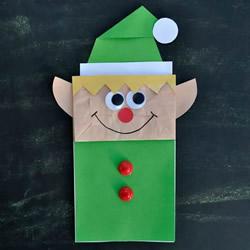 纸袋手工制作圣诞精灵木偶的教程