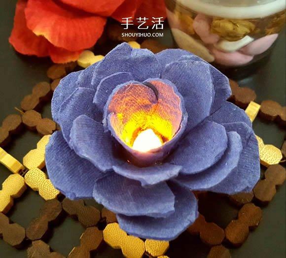 鸡蛋托手工制作玫瑰花灯的图解教程 -  www.shouyihuo.com