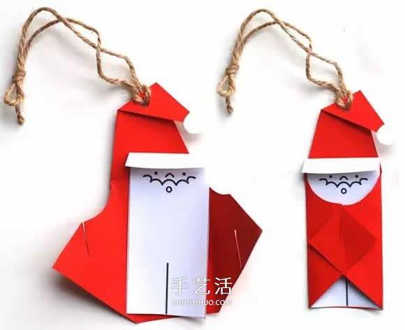 幼儿园手工制作彩纸圣诞老人图解教程 -  www.shouyihuo.com