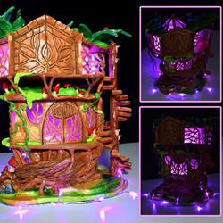 利用废弃回收材料DIY童话树屋灯的教程