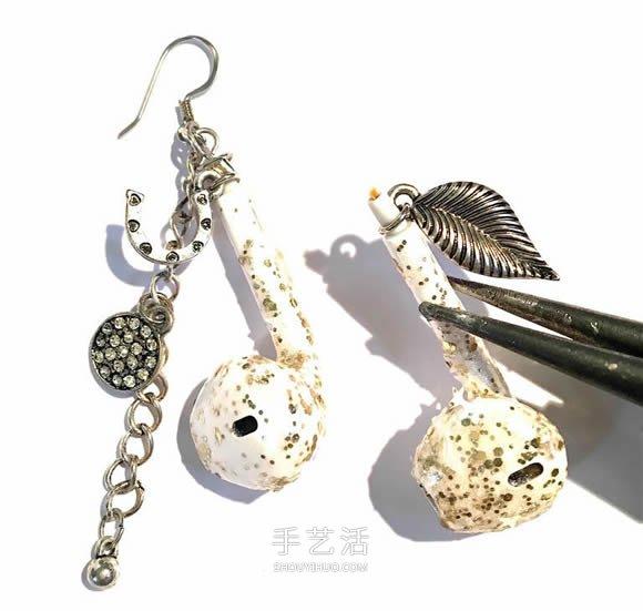 旧耳机手工制作创意耳环图解教程 -  www.shouyihuo.com