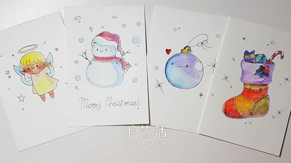 4种简单又可爱的手绘圣诞贺卡制作方法 -  www.shouyihuo.com