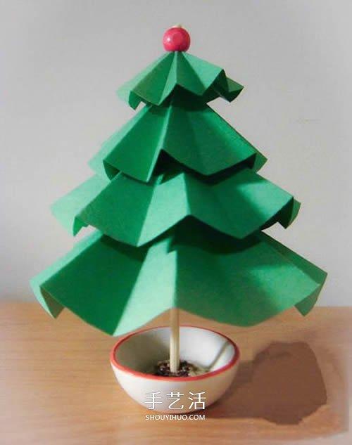 卡纸手工制作立体圣诞树的做法图解 -  www.shouyihuo.com