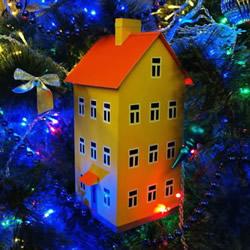 卡纸手工制作圣诞节房屋模型装饰