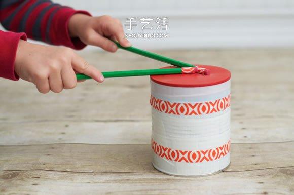 奶粉罐手工製作玩具鼓的方法教程