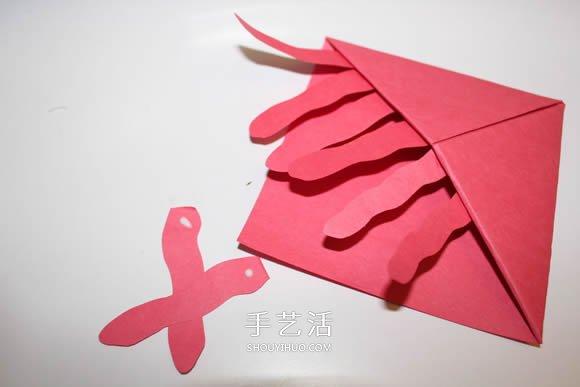 可以插在角落的水母書籤的折法圖解