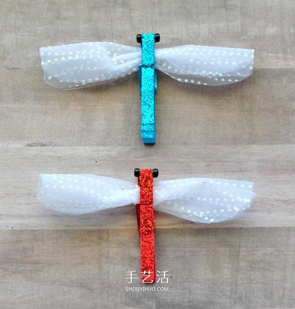 幼儿园用衣夹制作蜻蜓的做法教程 -  www.shouyihuo.com