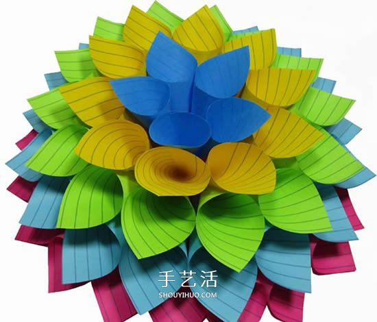 便利贴手工制作立体纸花的做法图解 -  www.shouyihuo.com