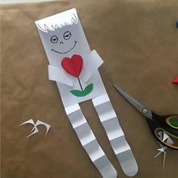 情人节表白纸片小人手工制作教程