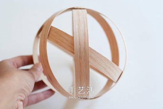 实木贴皮手工制作悬挂插花装饰品的做法 -  www.shouyihuo.com