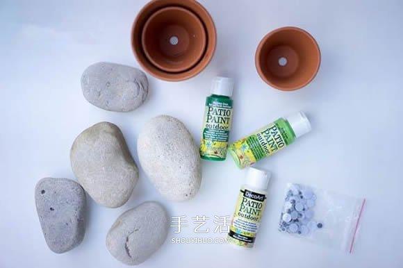 石頭手工製作超萌仙人掌盆栽裝飾品