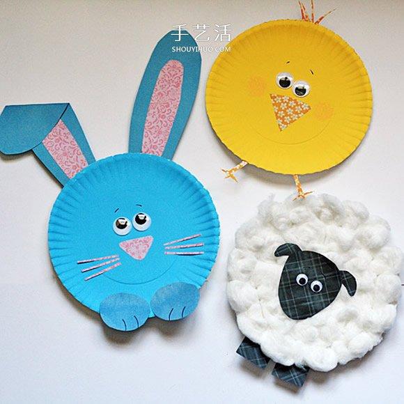 蛋糕紙盤手工製作可愛小動物的做法