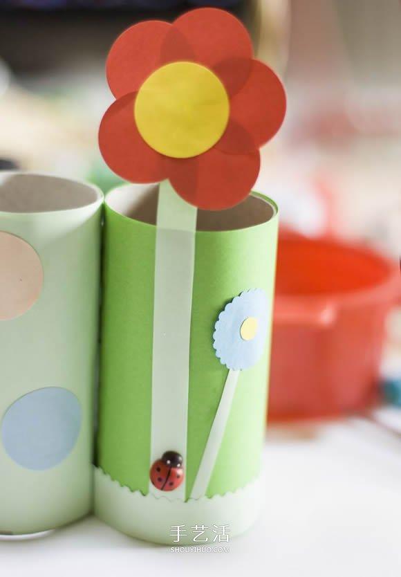 卫生带_卫生纸筒手工制作毛毛虫笔筒的做法_手艺活网