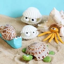 粘土和贝壳手工制作可爱的海洋生物