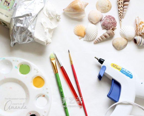 粘土和貝殼手工製作可愛的海洋生物