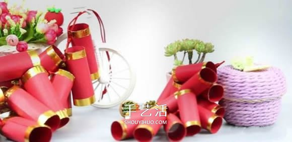 卡纸手工制作一串爆竹装饰的做法 -  www.shouyihuo.com