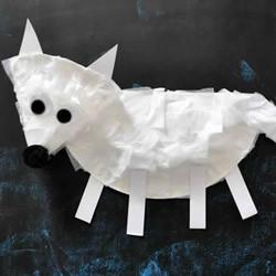 简单纸盘手工制作北极狐的做法图解