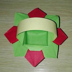 简单又漂亮纸花篮怎么折的图解教程