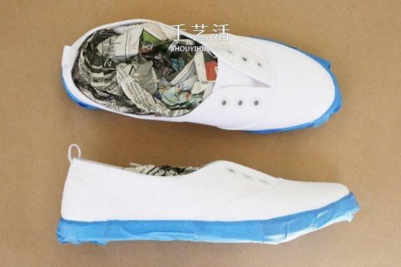 舊帆布鞋染色改造做出漸變效果的方法