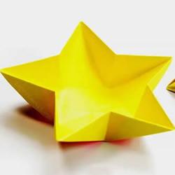 手工折纸五角星碗的折法图解教程