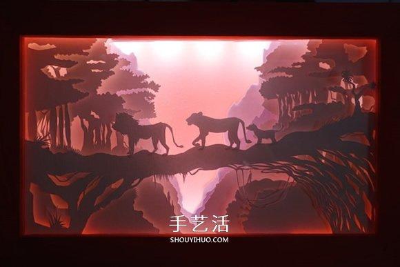 """精致""""纸雕灯箱""""作品欣赏并附纸雕视频教程 -  www.shouyihuo.com"""