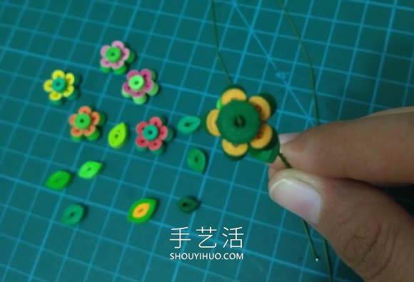 三八女神节礼物!小巧可爱的衍纸盆栽制作教程 -  www.shouyihuo.com