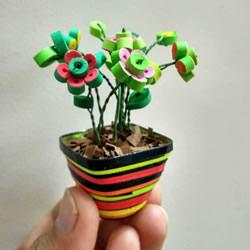 三八女神节礼物!小巧可爱的衍纸盆栽制作教程