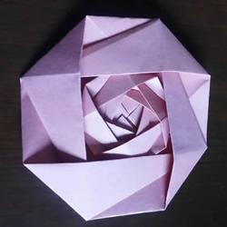可以组合出复杂款!简单平面玫瑰花的折纸教程