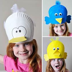 搞笑的纸盘鸟帽制作 让孩子变成快乐小鸟!