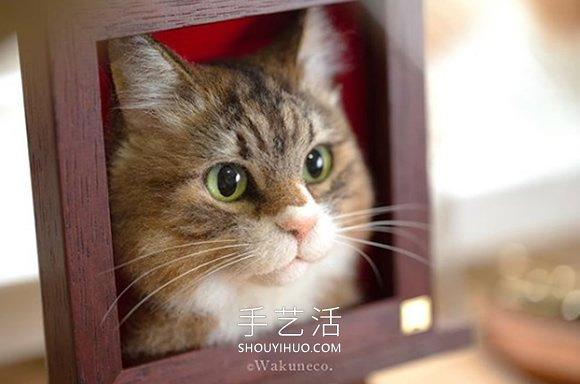 用玻璃眼睛和羊毛制作的神奇羊毛毡猫头肖像 -  www.shouyihuo.com