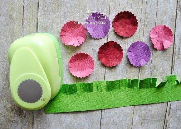 春天的记忆!用棉签和卡纸做可爱花朵贴画 -  www.shouyihuo.com