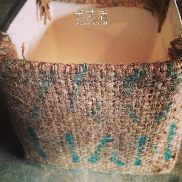 牛奶盒廢物利用 用麻布改造成多肉植物花盆