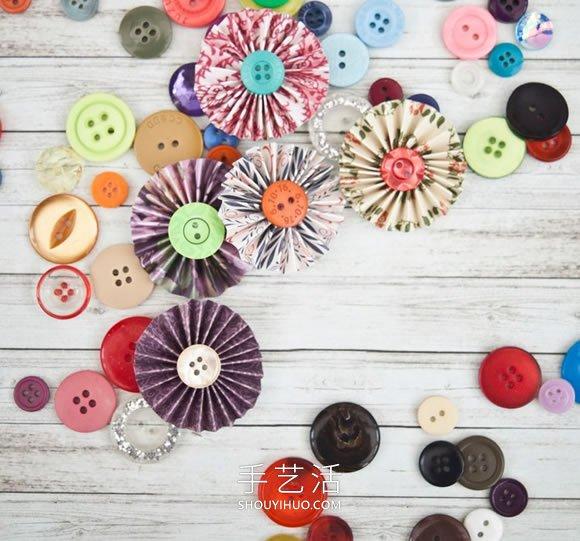 【 摺紙大全 】最簡單裝飾紙花製作視頻 紙條加紐扣就搞定!| 手工花 | 紙花