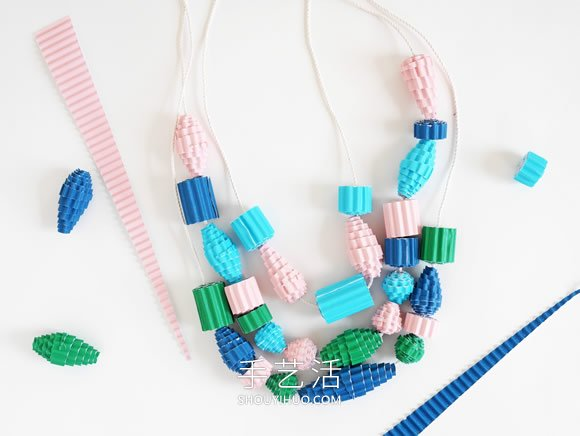 瓦楞纸制作串珠项链 简单DIY创意个性饰品! -  www.shouyihuo.com