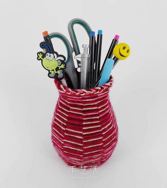僅用卡紙和毛線!手工花瓶/筆筒的編法教程